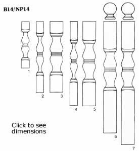 B14/NP14 balusters and newels